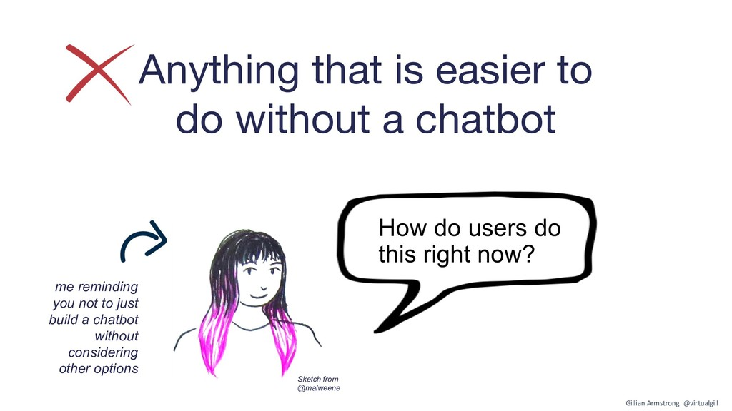 Anything that is easier to do without a chatbot...