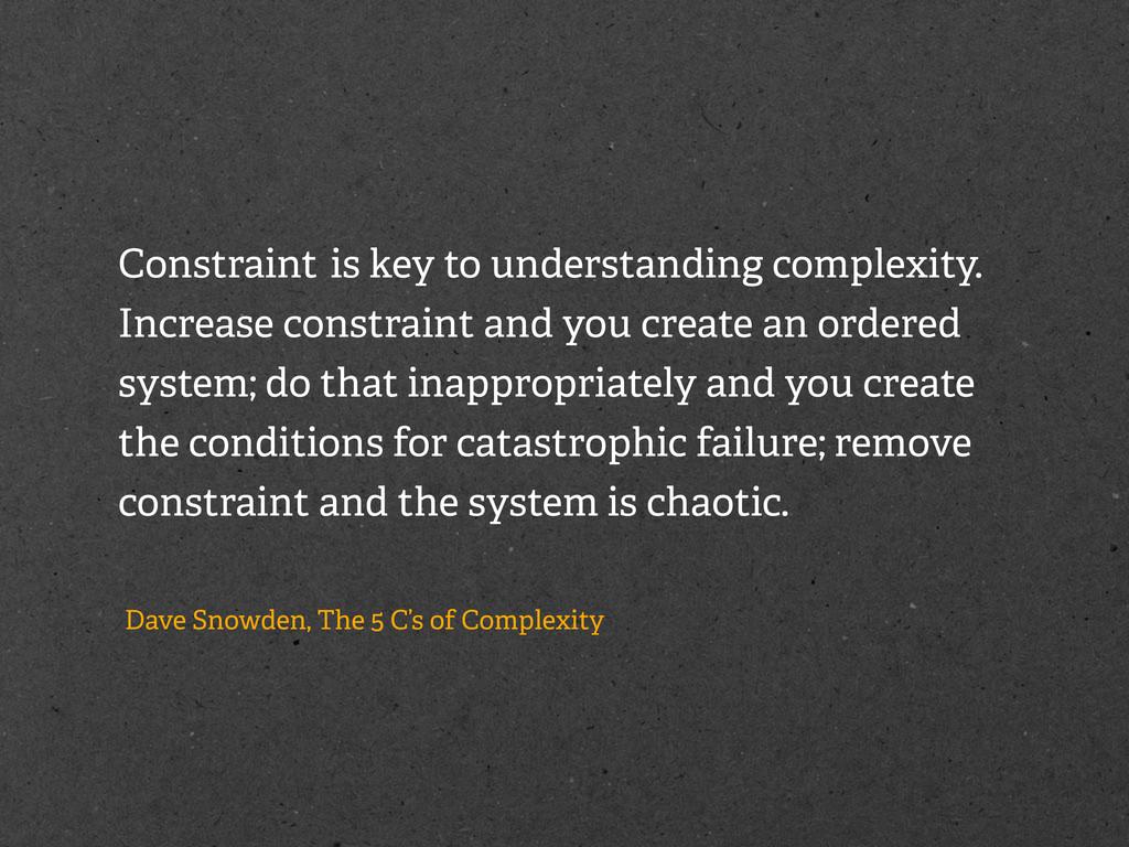 Constraint is key to understanding complexity. ...