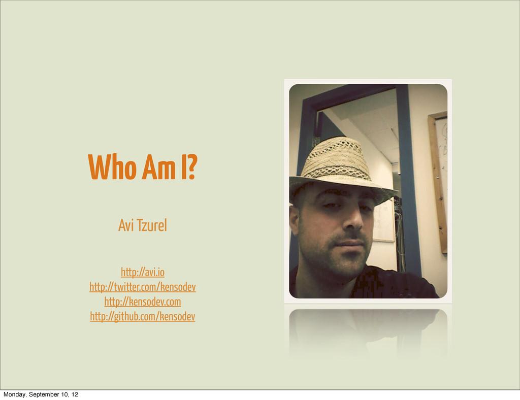 Who Am I? Avi Tzurel http://avi.io http://twitt...