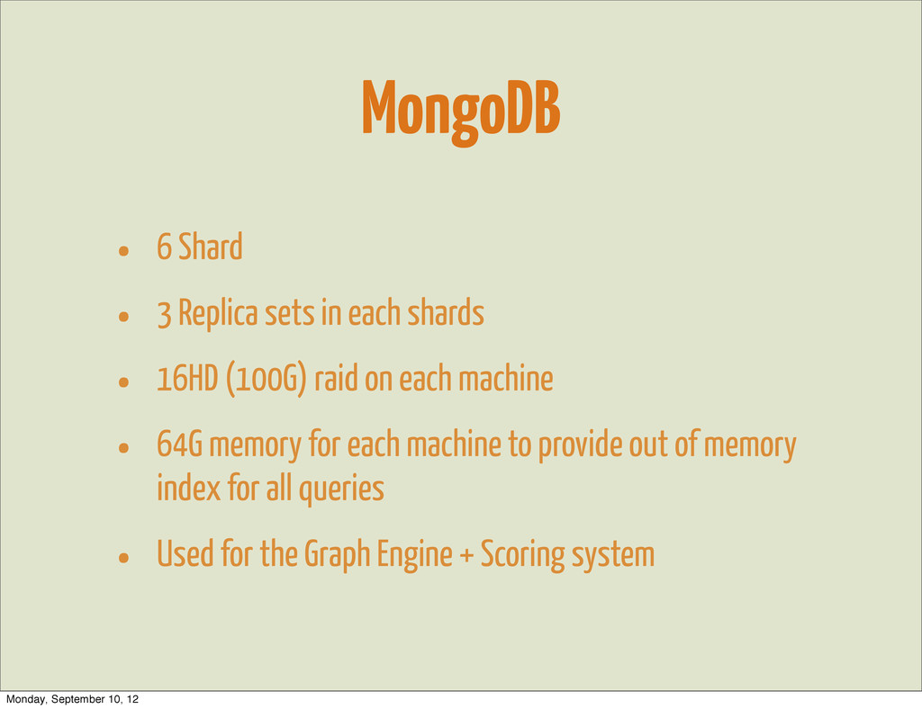 MongoDB • 6 Shard • 3 Replica sets in each shar...