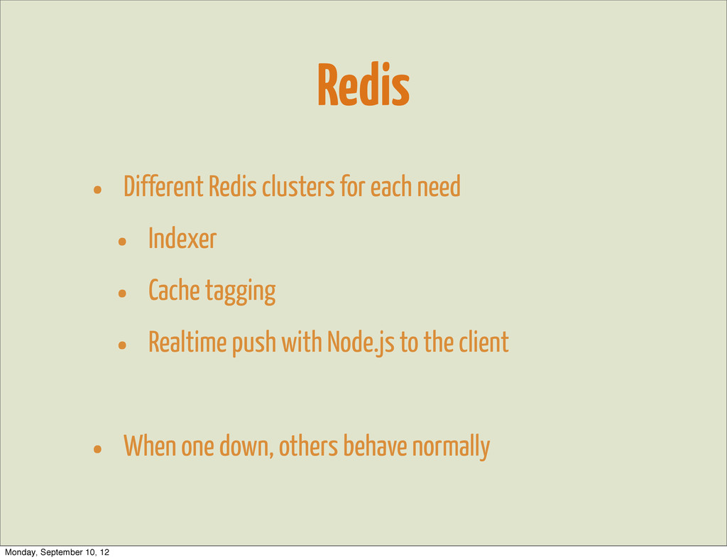 Redis • Different Redis clusters for each need ...