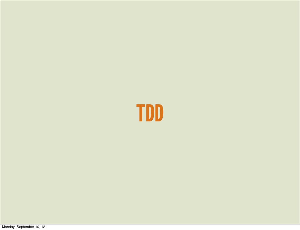 TDD Monday, September 10, 12
