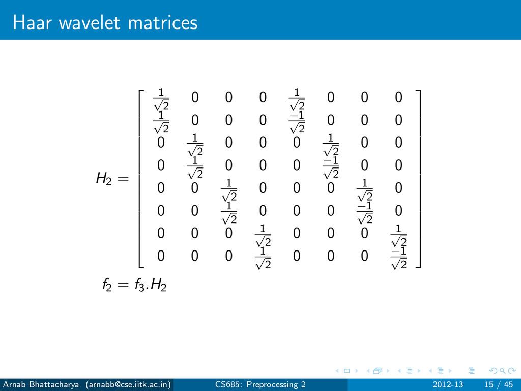 Haar wavelet matrices H2 =           ...