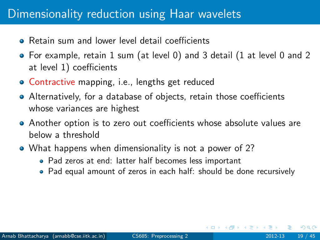 Dimensionality reduction using Haar wavelets Re...