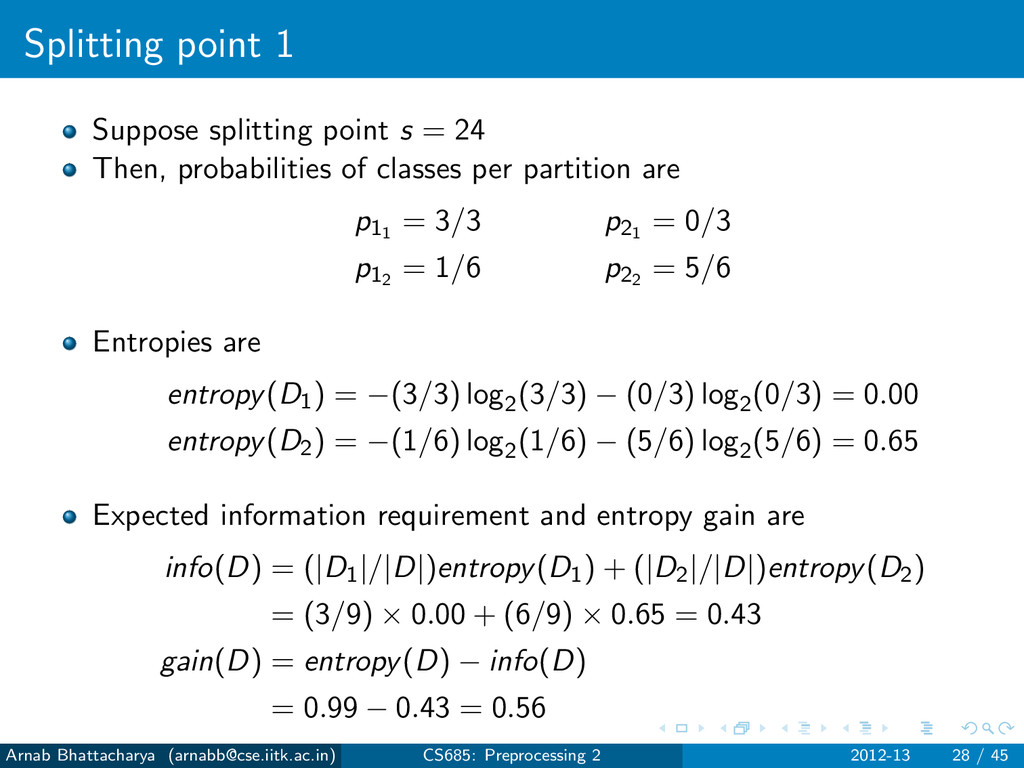 Splitting point 1 Suppose splitting point s = 2...