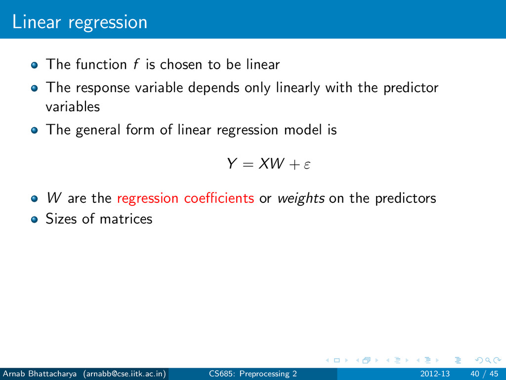 Linear regression The function f is chosen to b...