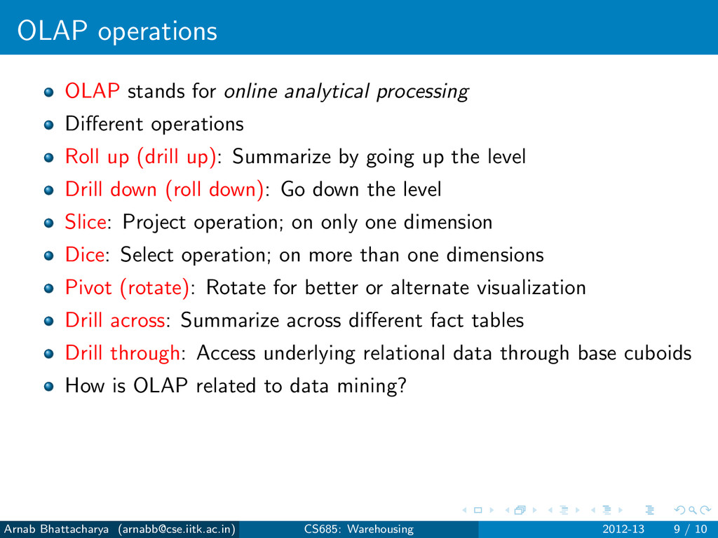 OLAP operations OLAP stands for online analytic...