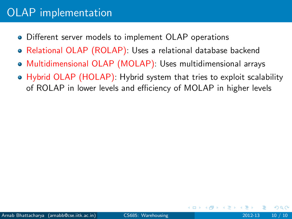 OLAP implementation Different server models to i...