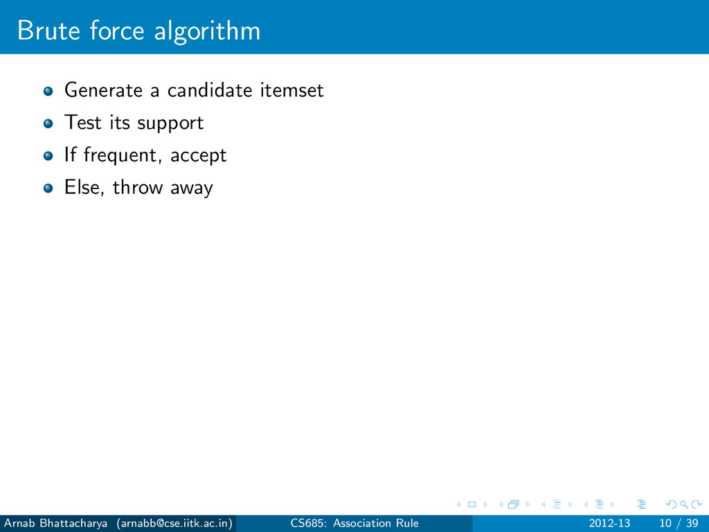 Brute force algorithm Generate a candidate item...