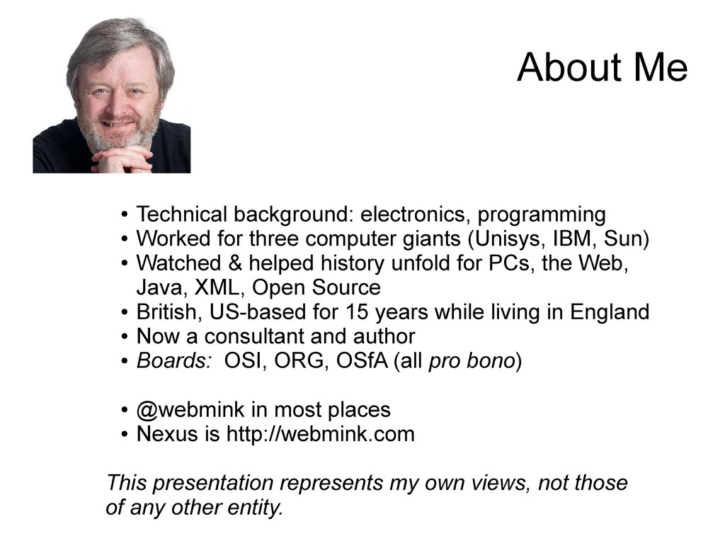 About Me ● Technical background: electronics, p...