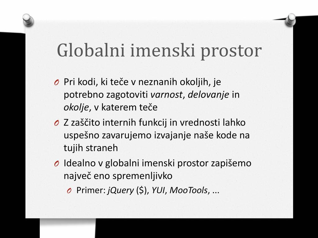 Globalni imenski prostor O Pri kodi, ki teče v ...