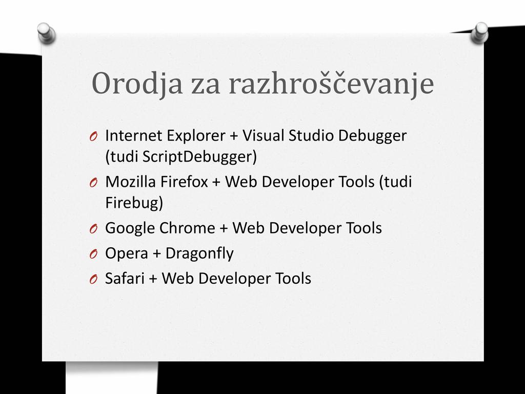 Orodja za razhroščevanje O Internet Explorer + ...