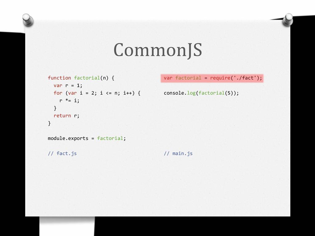 CommonJS function factorial(n) { var r = 1; for...