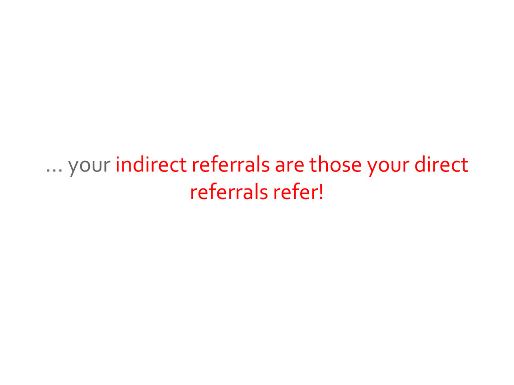 … your indirect referrals are those your direct...