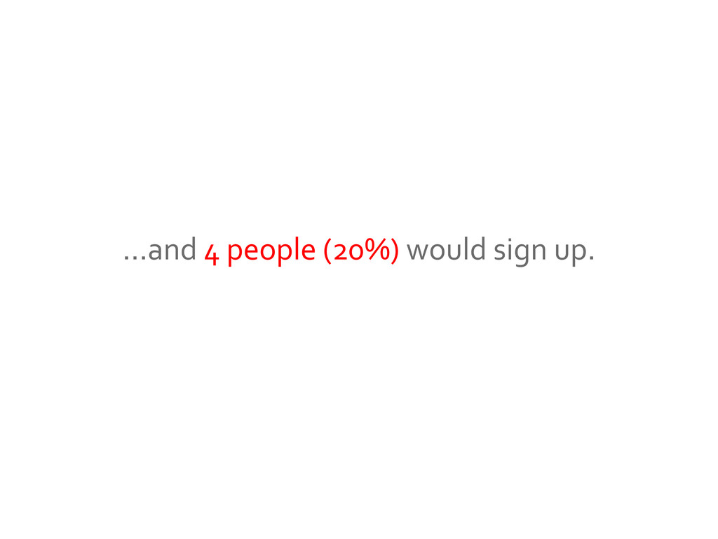 …and 4 people (20%) would sign up.