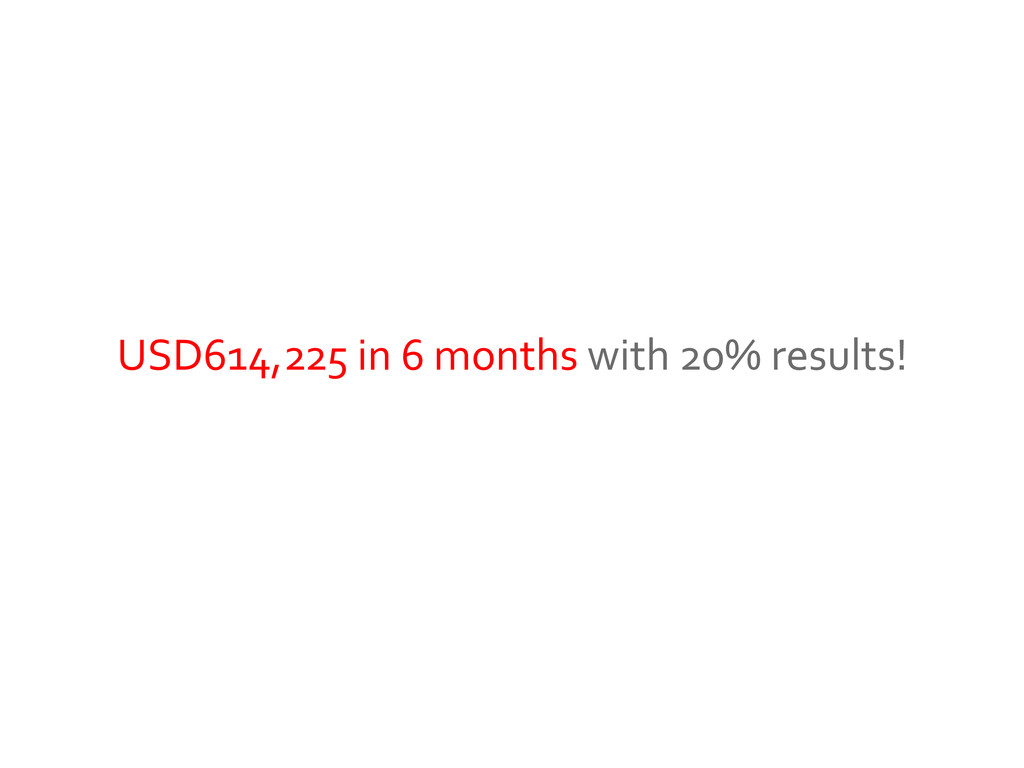 USD614,225 in 6 months with 20% results!
