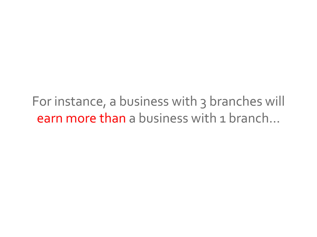 For instance, a business with 3 branches will e...