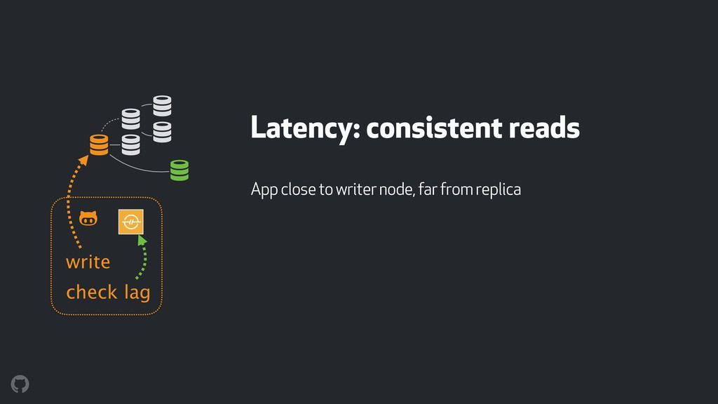 Latency: consistent reads App close to writer n...