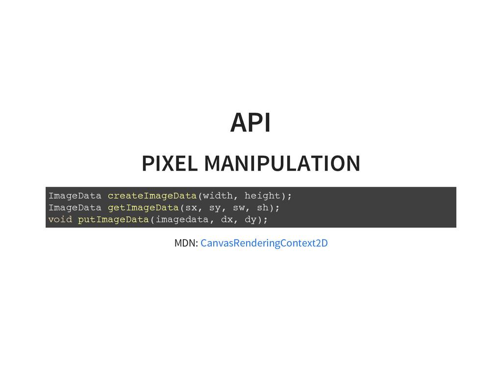 API PIXEL MANIPULATION I m a g e D a t a c r e ...