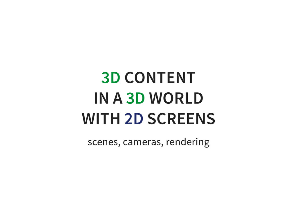 3D CONTENT IN A 3D WORLD WITH 2D SCREENS scenes...