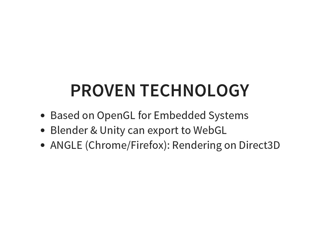 PROVEN TECHNOLOGY Based on OpenGL for Embedded ...