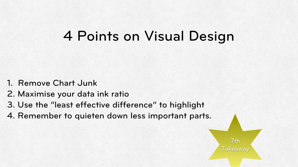 4 Points on Visual Design 1. Remove Chart Junk ...