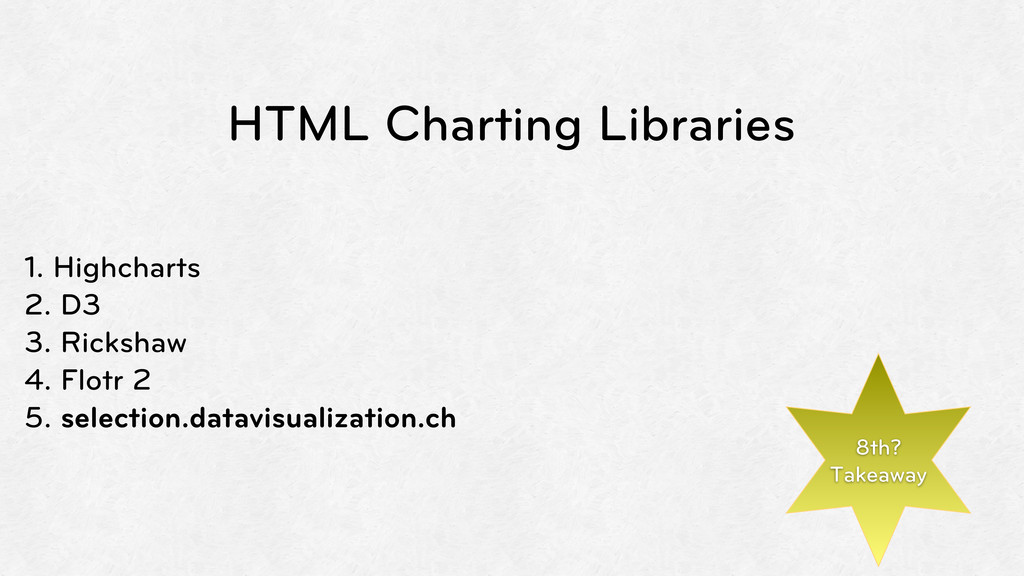 HTML Charting Libraries 1. Highcharts 2. D3 3. ...