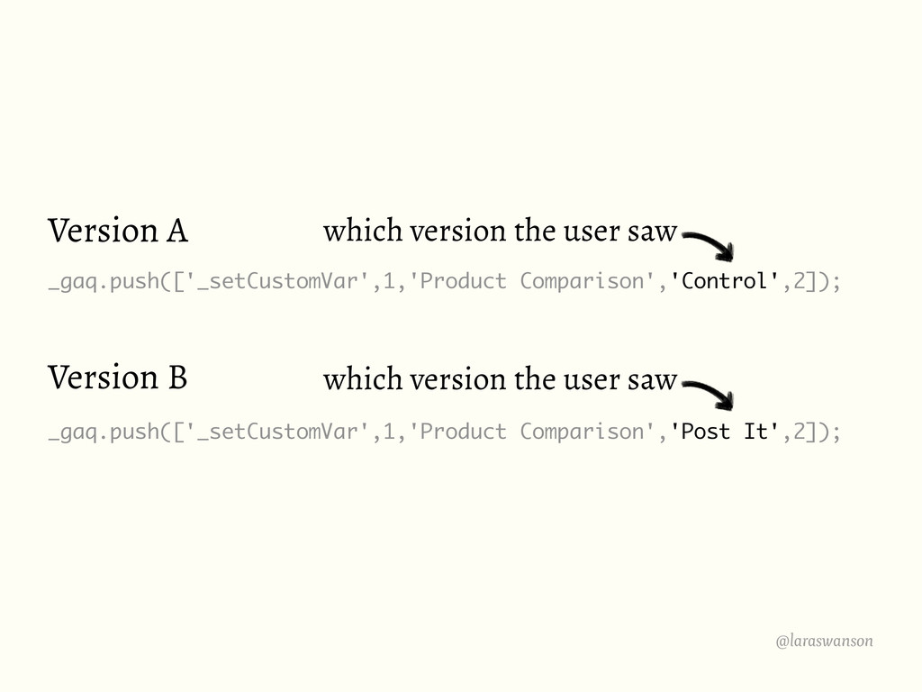 Version A _gaq.push(['_setCustomVar',1,'Product...