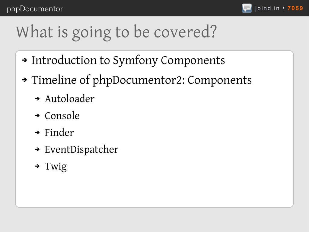 joind.in / 7059 phpDocumentor What is going to ...