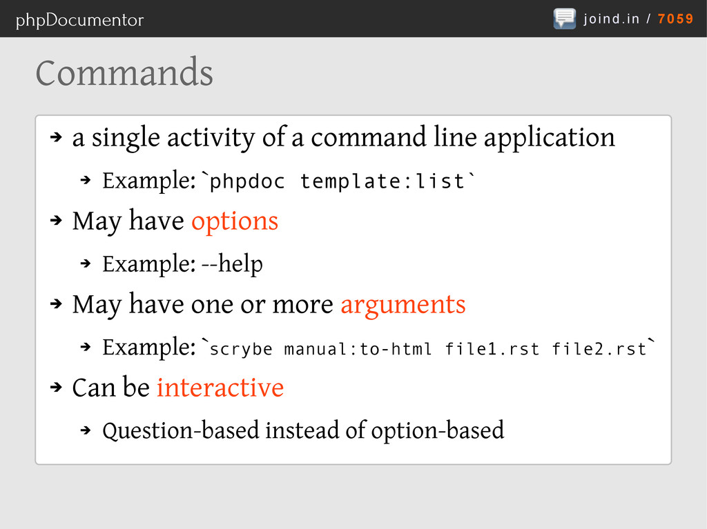 joind.in / 7059 phpDocumentor Commands ➔ a sing...