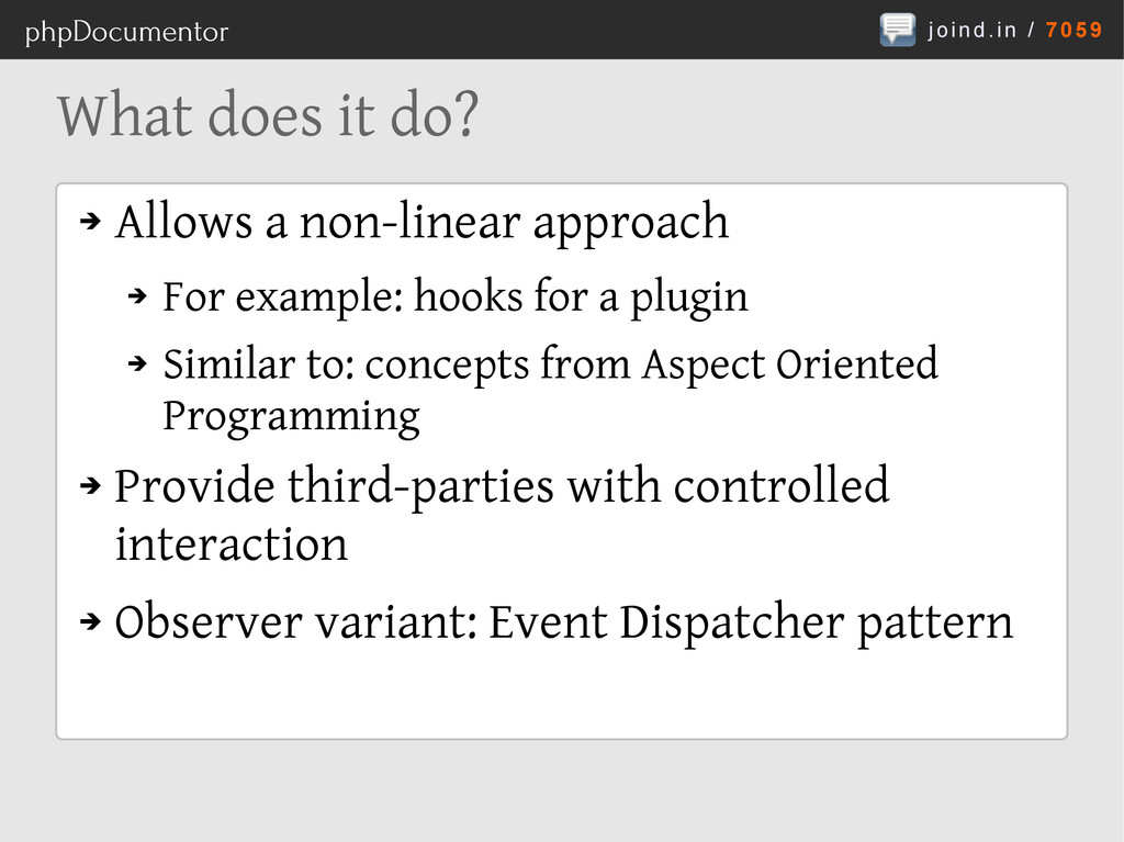 joind.in / 7059 phpDocumentor What does it do? ...