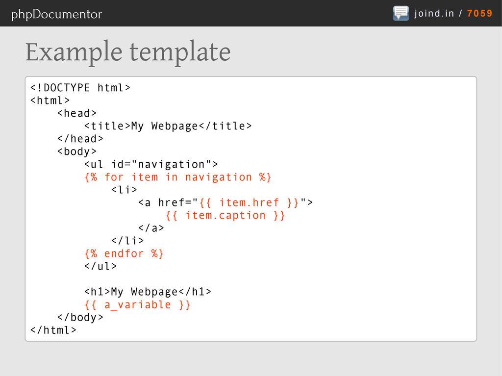 joind.in / 7059 phpDocumentor Example template ...