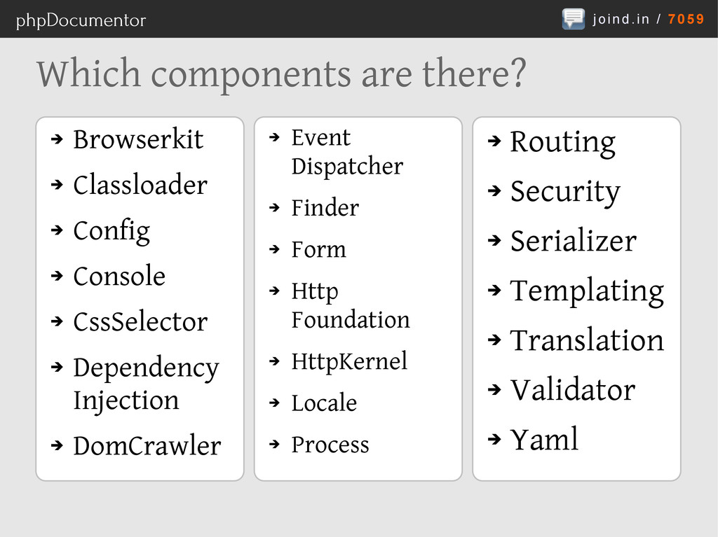 joind.in / 7059 phpDocumentor Which components ...