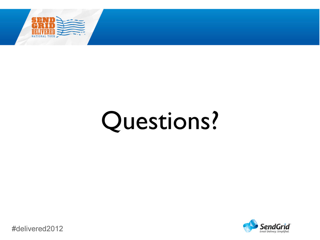 #delivered2012 Questions?