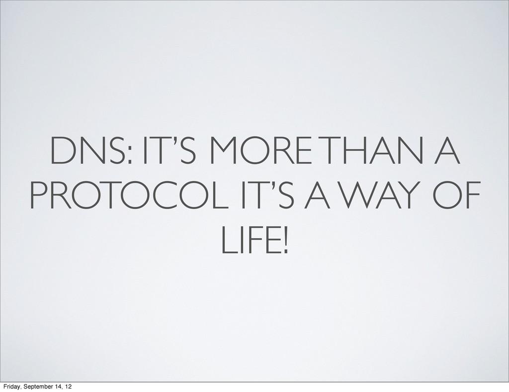 DNS: IT'S MORE THAN A PROTOCOL IT'S A WAY OF LI...