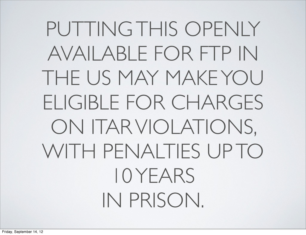 PUTTING THIS OPENLY AVAILABLE FOR FTP IN THE US...