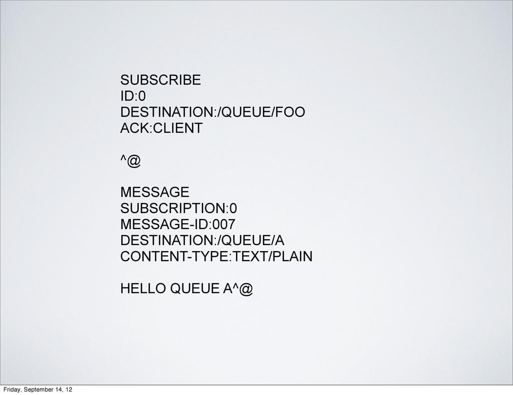 SUBSCRIBE ID:0 DESTINATION:/QUEUE/FOO ACK:CLIEN...
