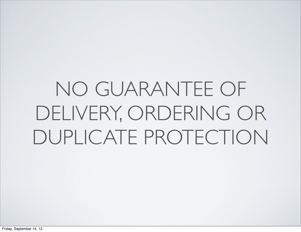 NO GUARANTEE OF DELIVERY, ORDERING OR DUPLICATE...