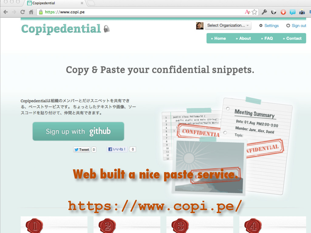 Web built a nice paste service. https://www.cop...