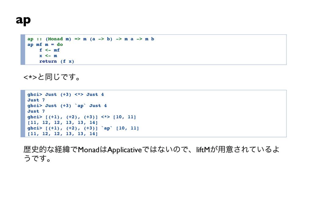 ap a p : : ( M o n a d m ) = > m ( a - > b ) - ...