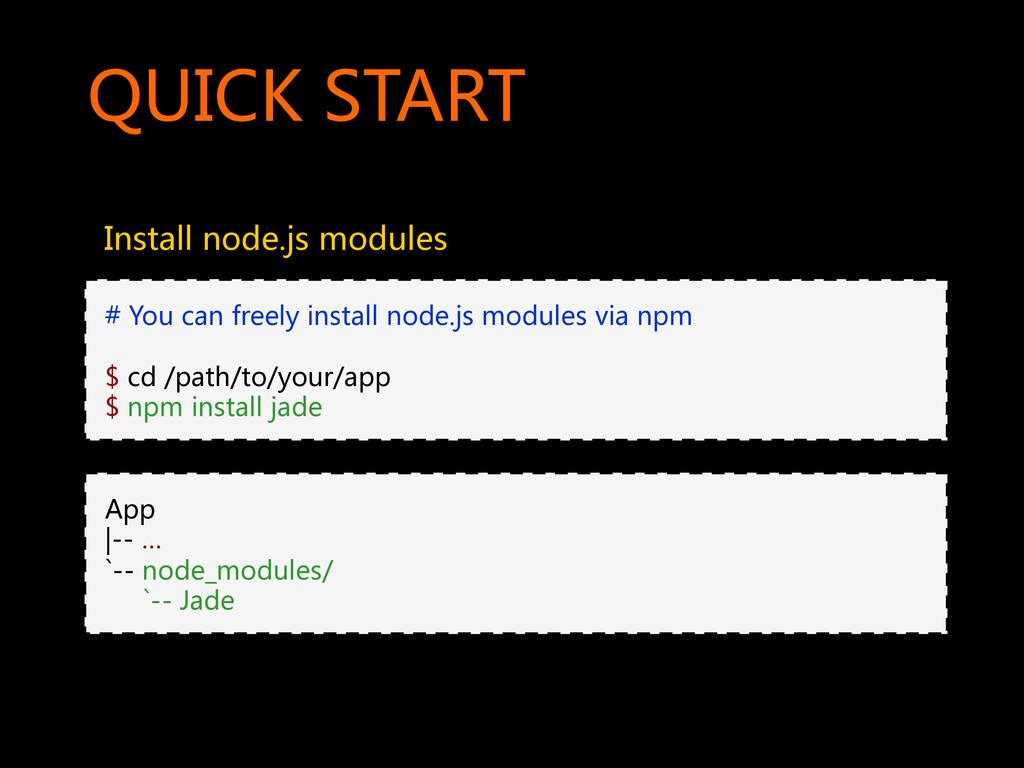 QUICK START  Install node.js modules ...