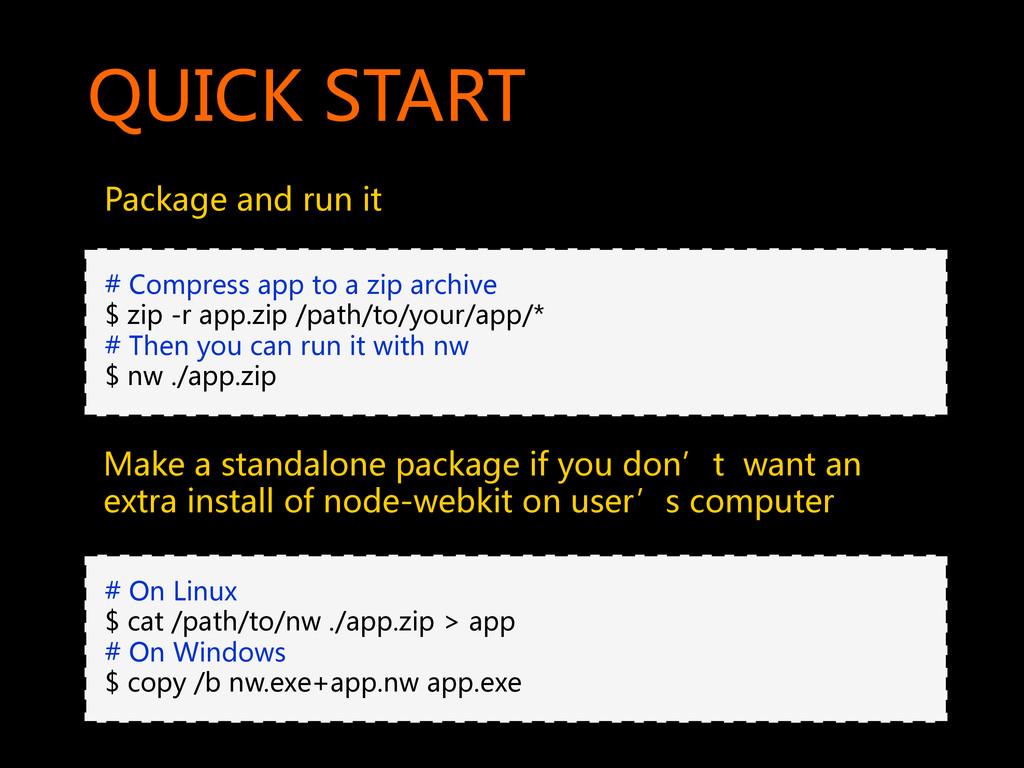 QUICK START  Package and run it  ...