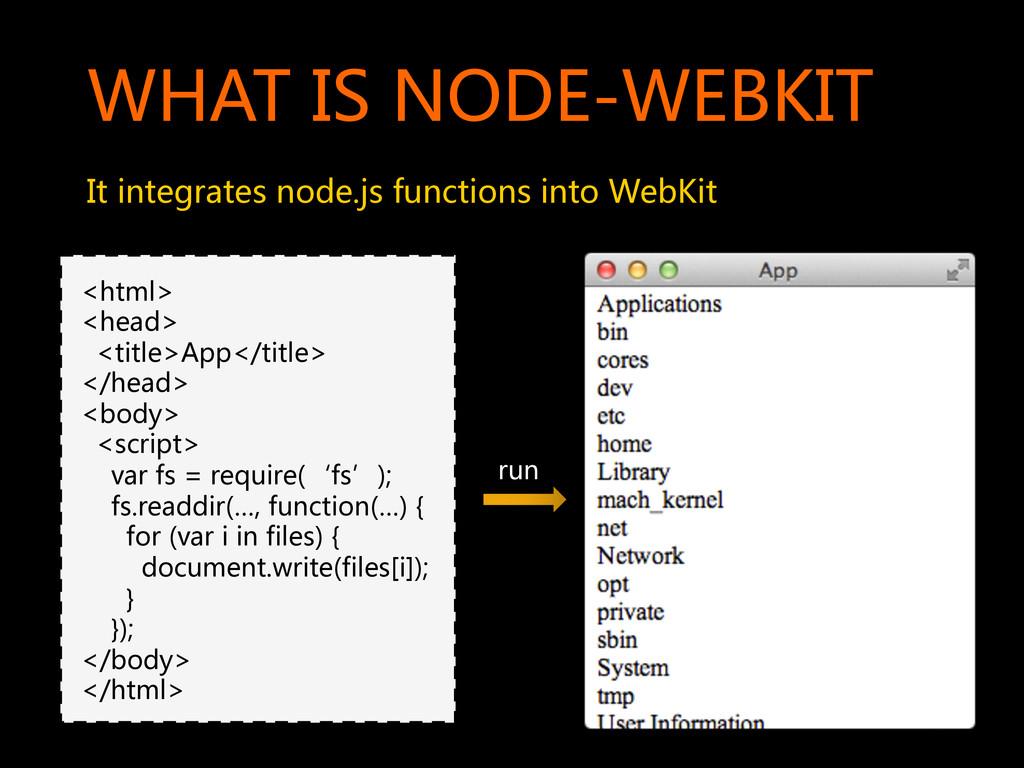 WHAT IS NODE-WEBKIT  It integrates no...
