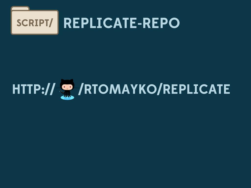 REPLICATE-REPO SCRIPT/ /RTOMAYKO/REPLICATE HTTP...