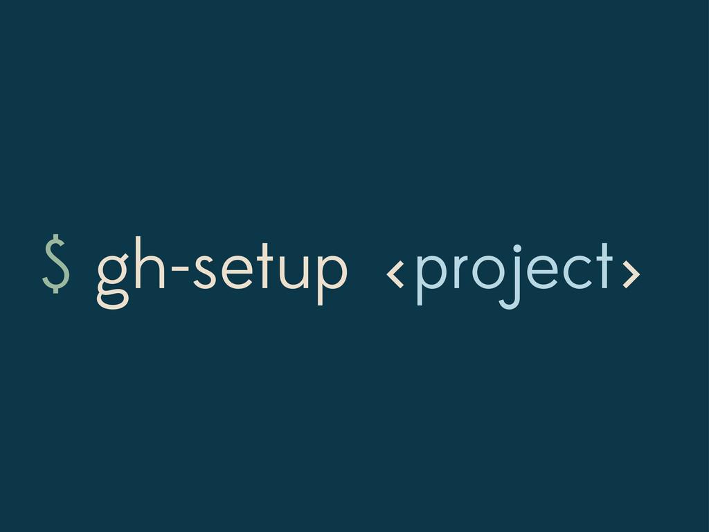 $ gh-setup project < >