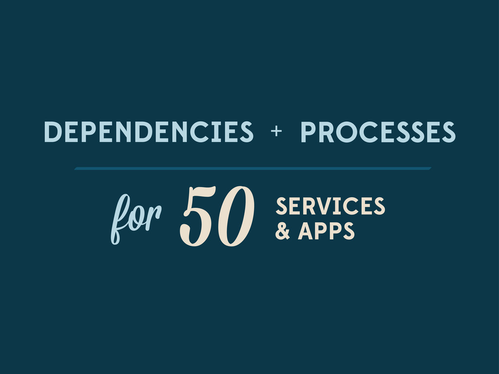 DEPENDENCIES PROCESSES + fo 50 SERVICES & APPS
