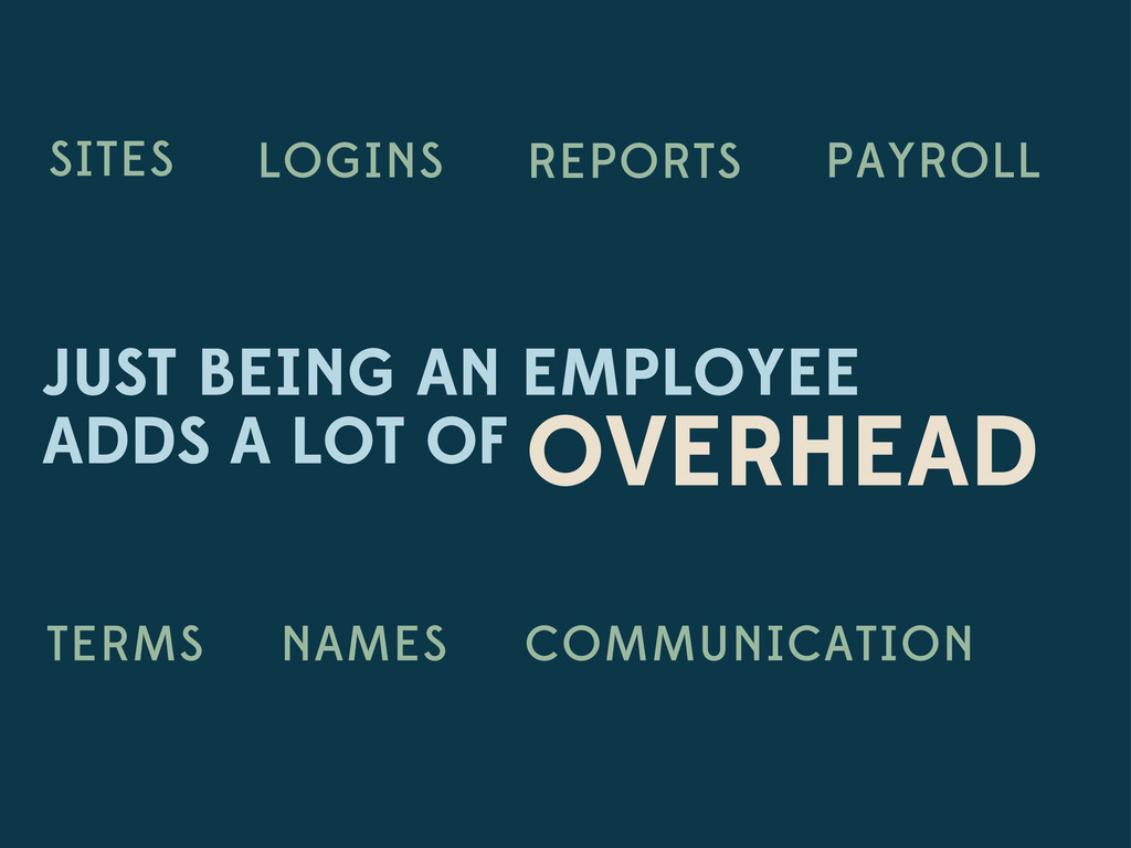 JUST BEING AN EMPLOYEE ADDS A LOT OF OVERHEAD L...