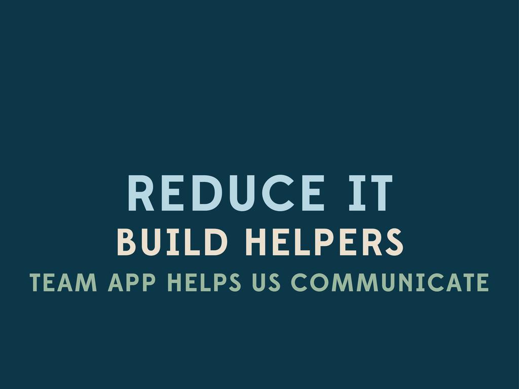REDUCE IT BUILD HELPERS TEAM APP HELPS US COMMU...