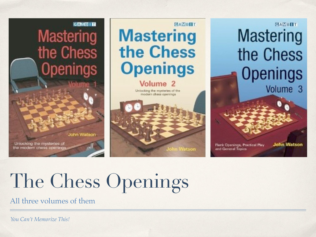 You Can't Memorize This! The Chess Openings All...