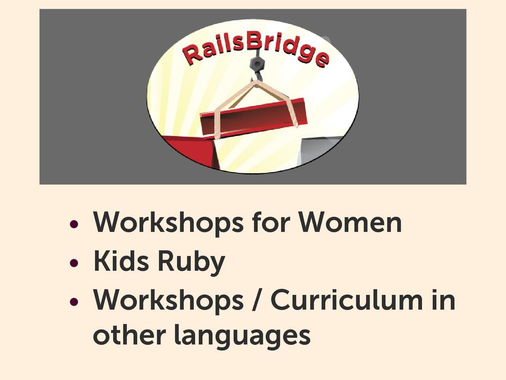 • Workshops for Women • Kids Ruby • Workshops /...